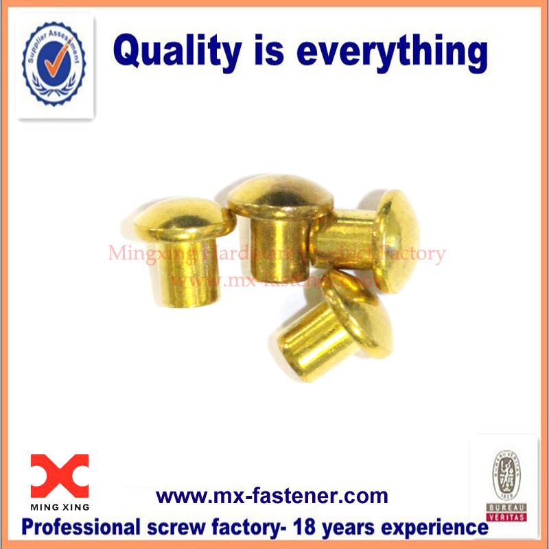 Brass solid rivet fasteners