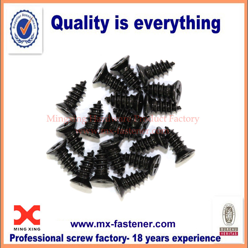 M1.7 countersunk black oxide screws for electronics